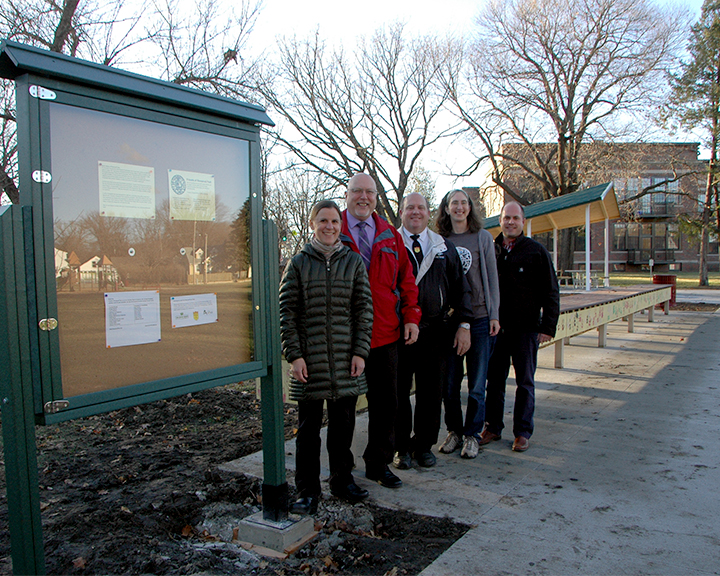 kiosk in Roosevelt Park funded by Iowa Grocery Industry Association